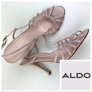 ALDO Pink Leather Strappy Cage STILETTO HEELS sz 9